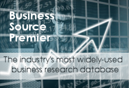 Graph with large up arrow representing Business Source Premier database