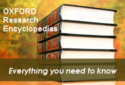 Stack of encyclopedias representing Oxford Research Encyclopedia database