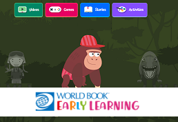 Cartoon gorilla representing World Book Early World of Learning database