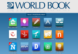 Icons representing subjects in World Book database