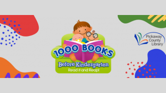 Babies reading 1,000 books before kindergarten surrounded by color splotches