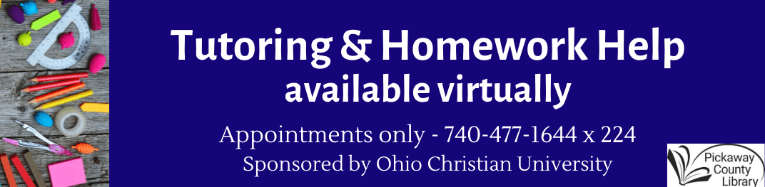 Homework Help Available through collaboration with Library and Ohio Christian University, plus school supplies on table
